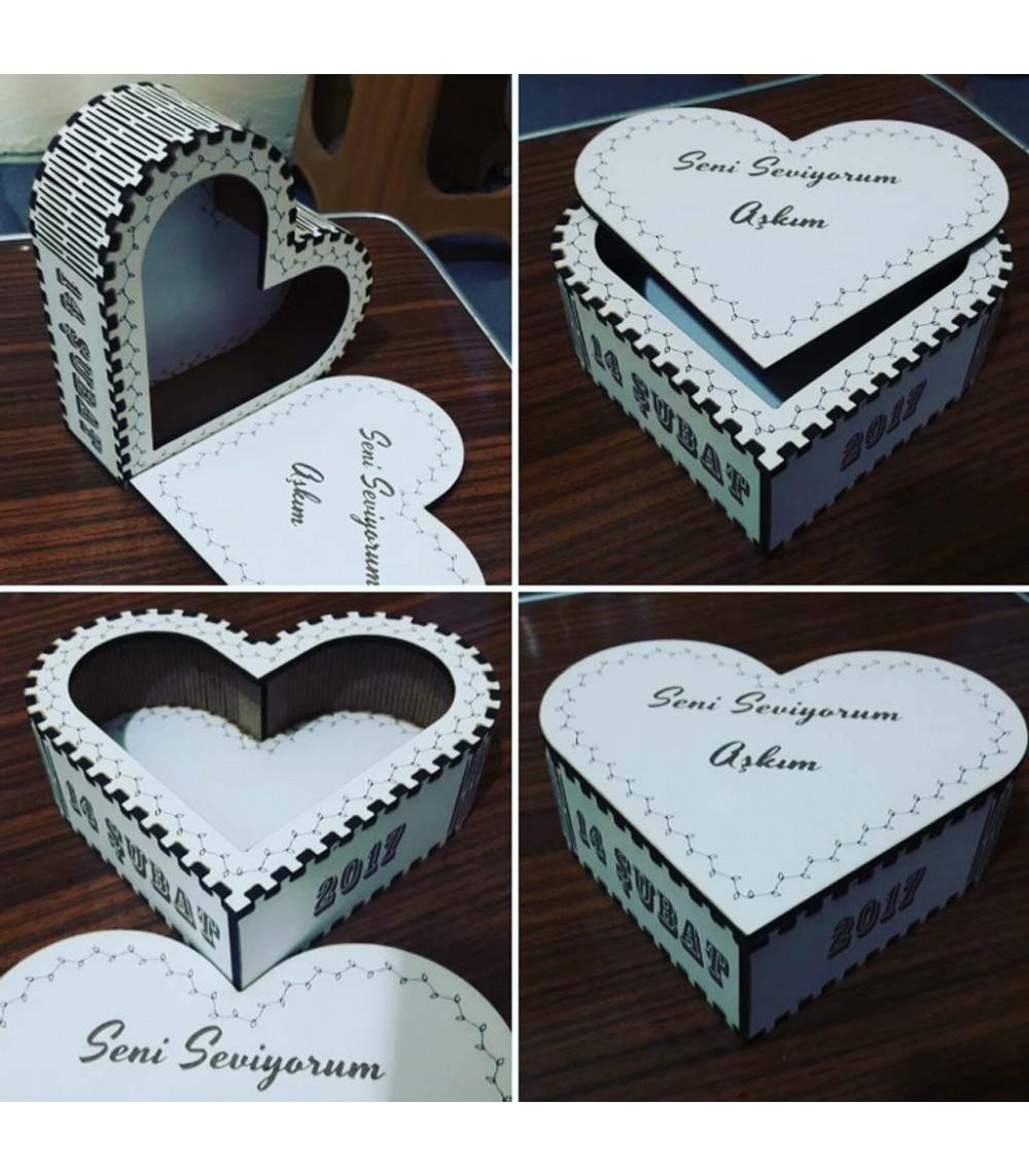14 Şubat Sevgililer Günü Hediyesi Kalp Şeklinde Ahşap Kutu